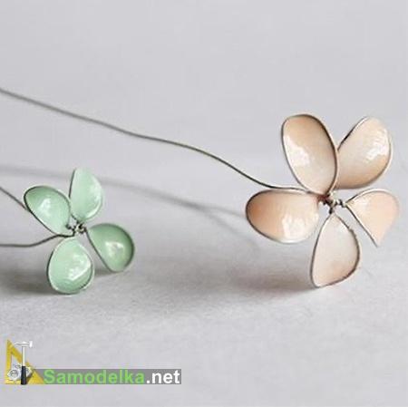 цветы из проволоки и лака для ногтей готовы