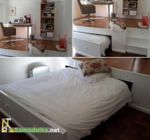 кровать под подиумом своими руками - готова