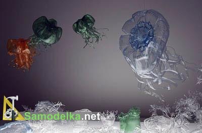 самодельный морской мир из пластиковых бутылок.