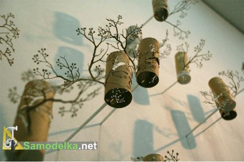 Самодельный китайский бумажный сад из трубочек от туалетной бумаги