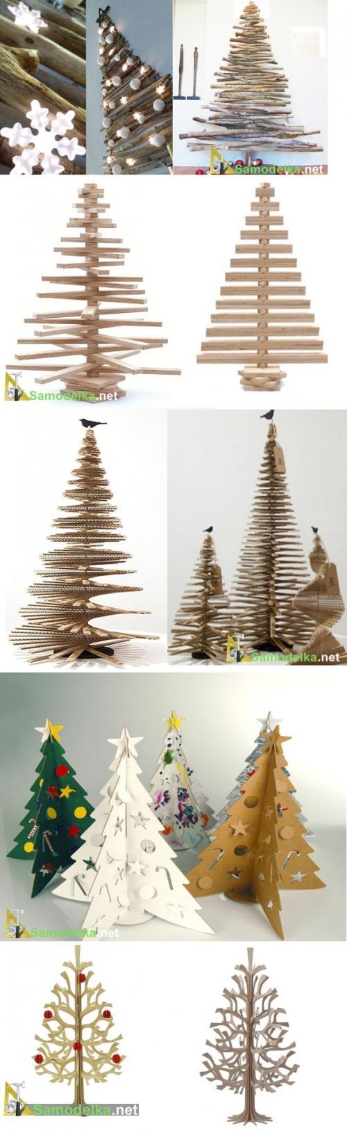 чем заменить новогоднюю елку - стилизованные поделки