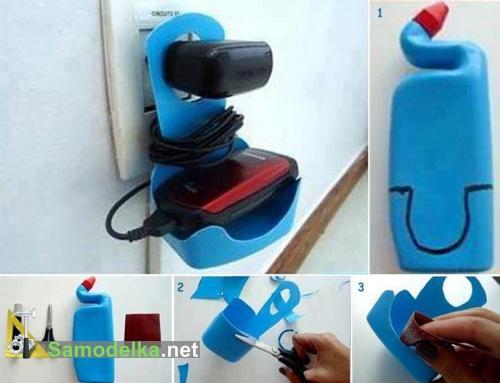 вариант самодельного крепления для телефона на розетку