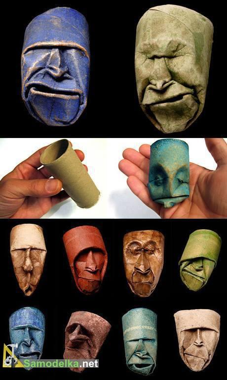 лица из бумажных трубочек от полотенец