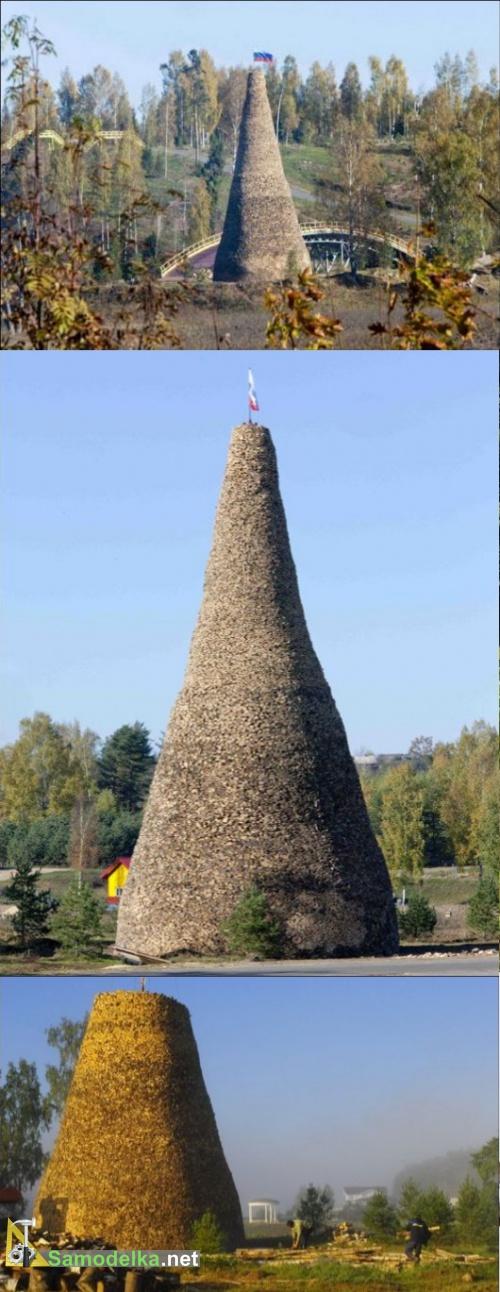 как сложить дрова - башня