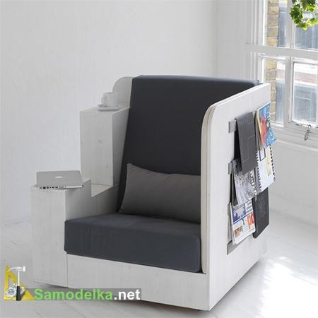 Самодельное кресло для отдыха, работы и хранения