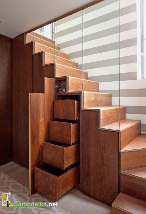 шкаф под лестницей фото с полками