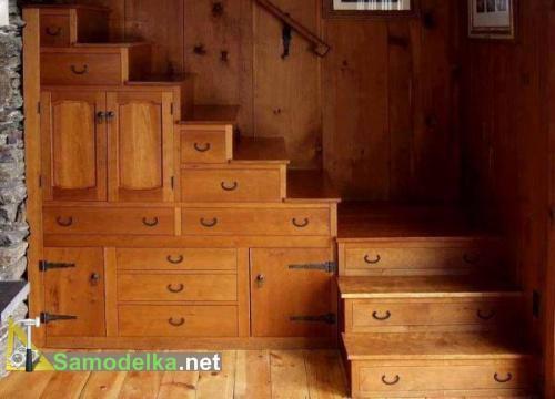 шкаф под лестницей под старину - фото
