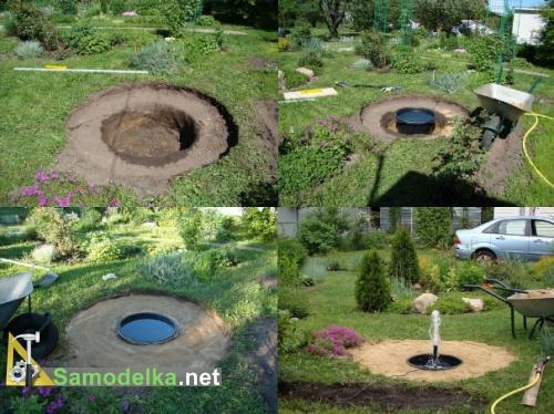 фонтан на даче своими руками фото земляные работы