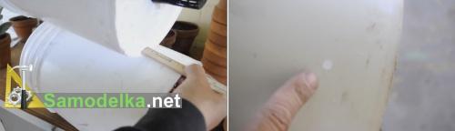 Делаем отверстие перелива в горшке