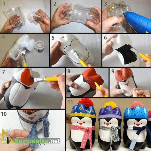 Пингвины - очередная самоделка из пластиковой бутылки