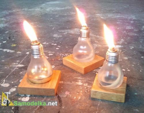 самодельный масляный светильник из электрической лампочки