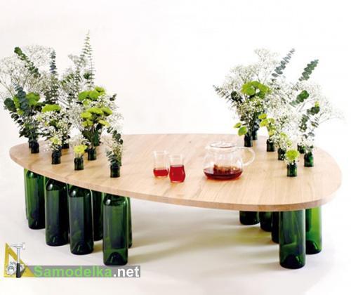 столики и полочки из бутылок