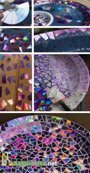 блюдо с мозаикой из DVD дисков