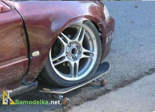 колесо заменили на скейт