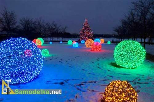 Светящийся шар своими руками - уличное новогоднее освещение