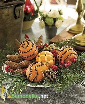 фигурная резьба по апельсинам для новогоднего стола
