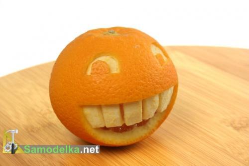 смайлы из апельсинов - карвинг