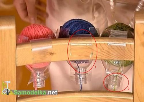 Приспособление из пластиковых бутылок для удержания клубков при вязании.