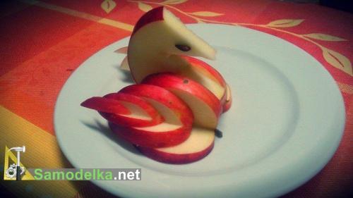 как из яблока сделать лебедя