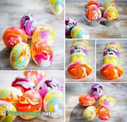 Как покрасить яйца под разноцветный мрамор к Пасхе