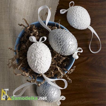 украшение пасхальных яиц своими руками подвесные с узором