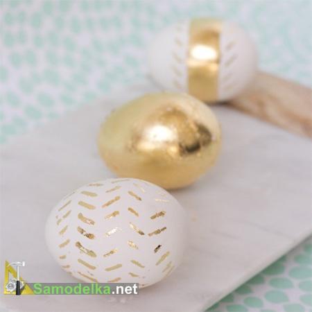 украшение пасхальных яиц своими руками - в сусальном золоте