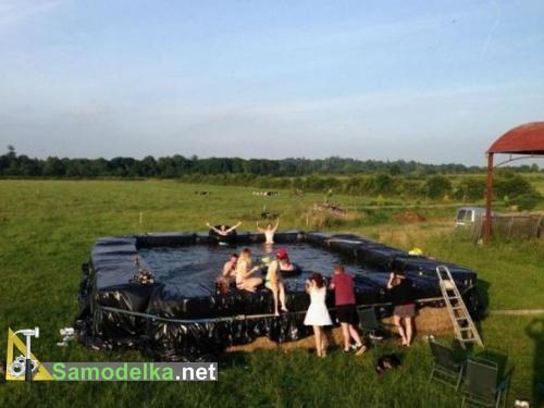 самодельный бассейн на даче из соломы