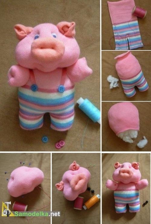как сшить игрушки из носков - свинка