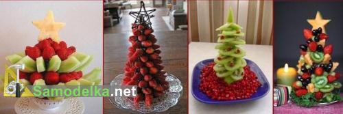 самодельные елки из клубники и фруктов