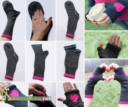 как сделать перчатки из носков