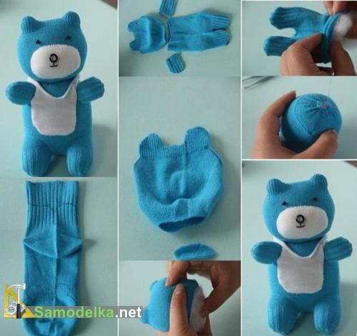 Как сшить игрушки из носков - мишка