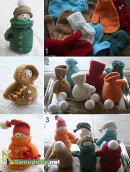 снеговик с руками из носков или варежки