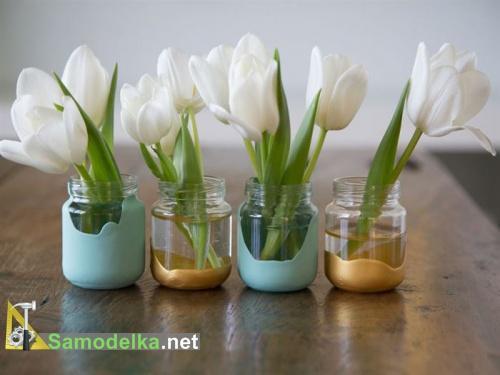 поделки из баночек из под детского питания - мини вазочки