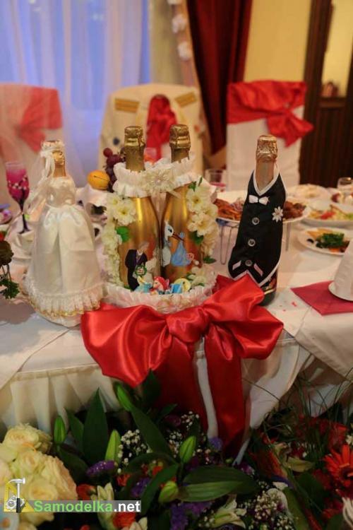Украшение свадебных бутылок своими руками готовая бутылка