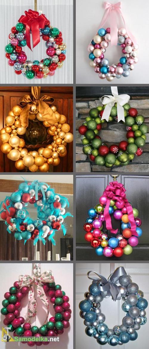 новогодние венки из елочных шариков