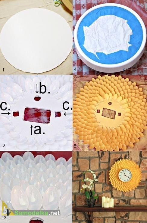 как сделать оправу для часов из пластиковых ложек