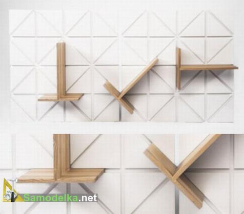 Необычные полки на стену фото полка с изменяющейся геометрией