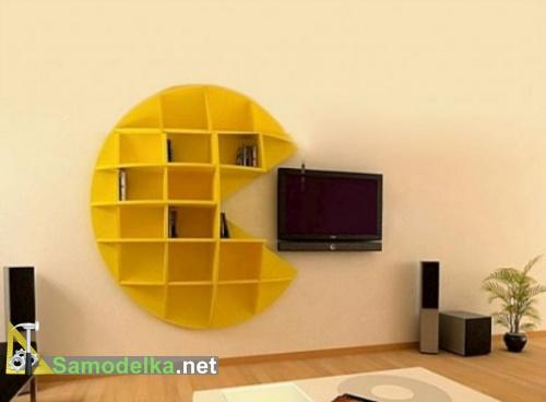 Необычные полки на стену в форме пакмена фото