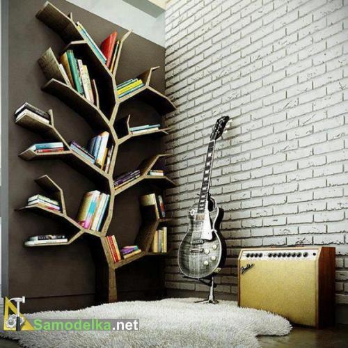 Необычные полки на стену фото - вертикальное дерево