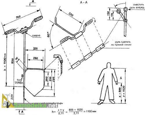 чертеж чудо-лопаты с ручкой от велосипеда