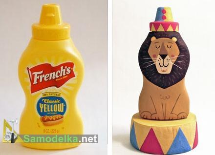 фигурка льва из пластиковй бутылки