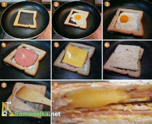 Слоеная яичница с колбасой и сыром в хлебе
