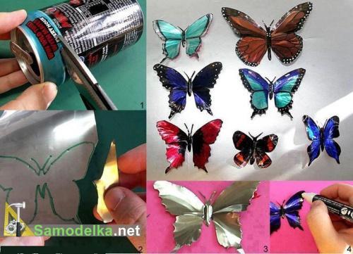 бабочки из алюминиевых банок