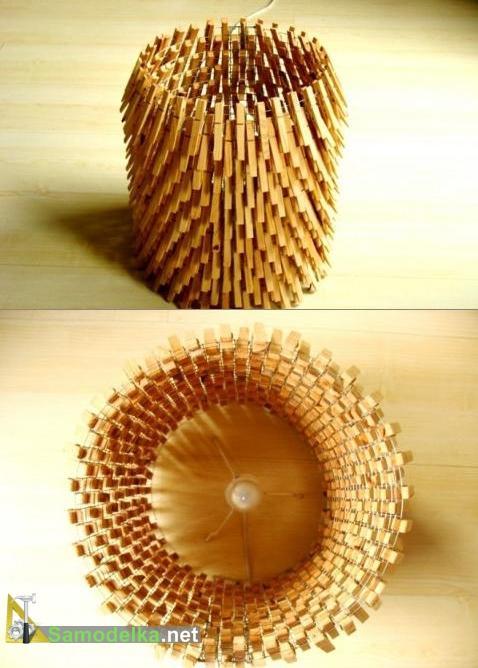самодельная лампа из деревянных прищепок