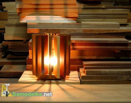 Лампа из обрезков досок
