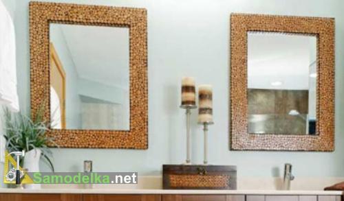 самодельная рама для зеркала облицованная деревянными спилами