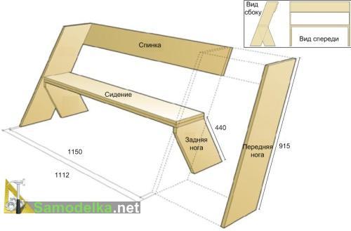 схема как сделать скамейку со спинкой