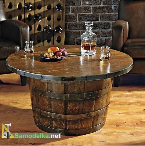 столик и мини бар из деревянной бочки