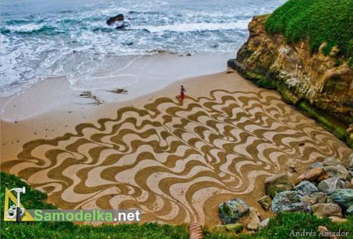 Рисунки на песке Андреса Амадора волны
