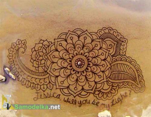 Рисунки на песке Андреса Амадора цветочный узор